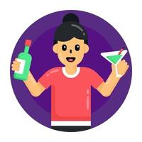 Cocktail and Drinking Wine vector