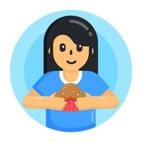 Eating Cupcake and Food vector