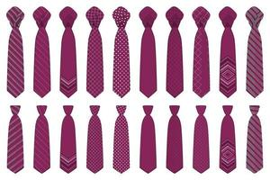 big set ties different types, neckties various size vector