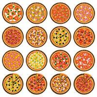 whole round hot pizza, slice triangle to pizzeria menu vector