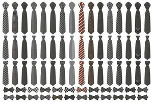 Illustration on theme big colored set neckties different types vector