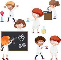 conjunto de personaje de dibujos animados científico vector