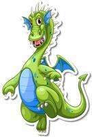 Green Dragon cartoon character sticker vector
