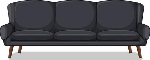 Black three-seater sofa isolated on white background vector