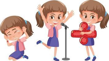 Cartoon character of a girl doing different activities vector