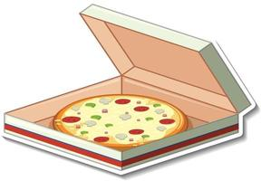 Pizza in box sticker on white background vector