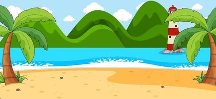 Empty beach scene with coconut trees and mountain in simple style vector