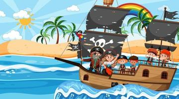 Treasure Island scene at daytime with Pirate kids on the ship vector