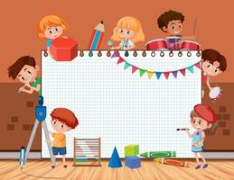 Empty board with student kids doing different activities vector