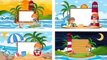 Set of different tropical beach scenes with blank banner vector