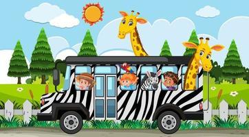 Safari scene with kids on tourist car watching giraffe group vector