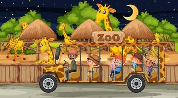 Safari at night scene with many kids watching leopard group vector