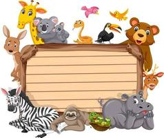 Empty wooden board with various wild animals vector