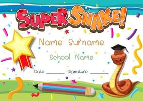 Diploma o certificado para escolares con carácter de super serpiente. vector