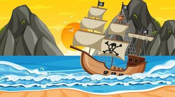 Ocean with Pirate ship at sunset time scene in cartoon style vector