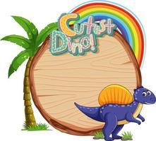 Empty board template with cute dinosaur cartoon characte vector