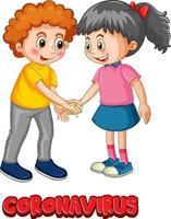 Kids character do not keep social distance with Coronavirus font vector