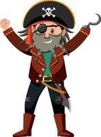 Personaje de dibujos animados pirata del capitán garfio aislado sobre fondo blanco. vector