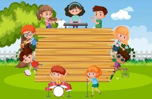 Empty wooden board with kids playing different musical instruments vector