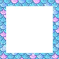 Blank blue fish scales frame template vector