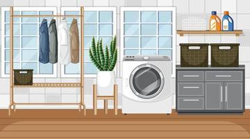 Escena de lavandería con lavadora y perchero. vector