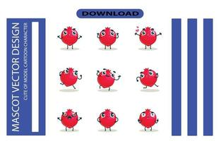 Mascot images of the pomegranate set. Free Vector
