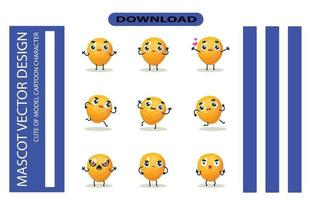 Mascot images of the persimmon set. Free Vector