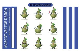 Mascot images of the avocado set. Free Vector