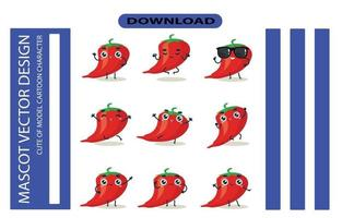 Mascot images of the chili set. Free Vector