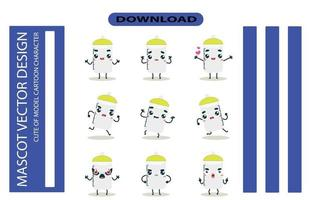 Mascot images of the baby bottle set. Free Vector