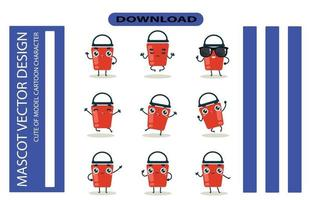 Mascot images of the bucket set. Free Vector