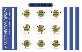 Mascot images of the burger set. Free Vector