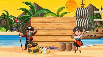 Empty banner template with pirates at the beach sunset scene vector