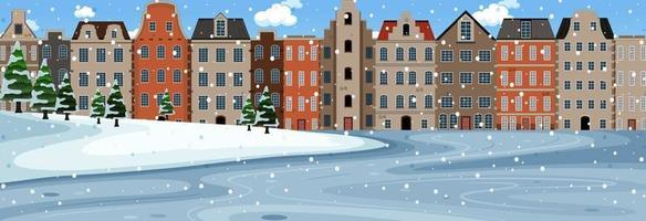 Snow falling scene at day time with suburban buildings background vector