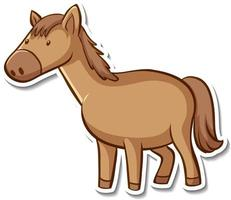 Sticker design with cute horse isolated vector