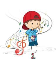 Doodle cartoon character of a boy listening music with musical melody vector
