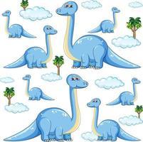 Set of isolated brachiosaurus dinosaurs cartoon character vector