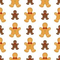 Big set identical gingerbread man, kit colorful pastry cookie vector