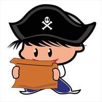 little pirate cartoon illustration vector
