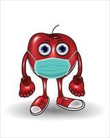 personaje de dibujos animados de manzana con una máscara vector