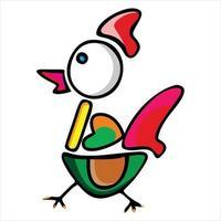 cute chicken character cartoon illustration vector