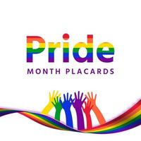 The month of pride sign stands with colorful hands vector