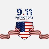 Patriots day has a ribbon hugging the us flag logo vector