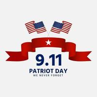 Patriot day 9 11 with red ribbon and national flag vector