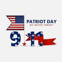 Patriot day 9 11 with a ribbon attached to the flag stick vector