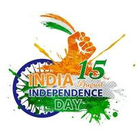 India independence day with watercolor and hand holding flag vector
