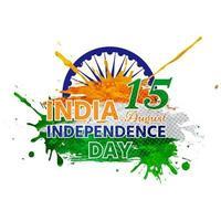 independencia de la india y con letras superpuestas en acuarela vector
