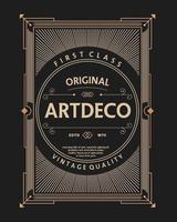 vintage frame art deco label sign poster vector template
