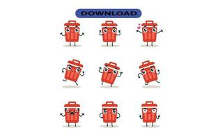 Mascot images of the trash set. Free Vector