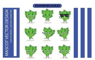 Mascot images of the salad cabbage set. Free Vector High Quality